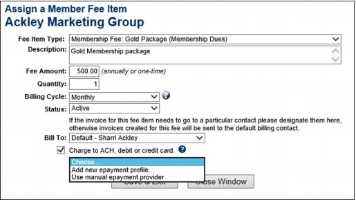 ChamberMaster Billing-Assign Fee Item for automatic recurring credit 2fd-CMBilling.1.023.1.jpg