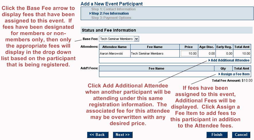 add new participant step 2 fees